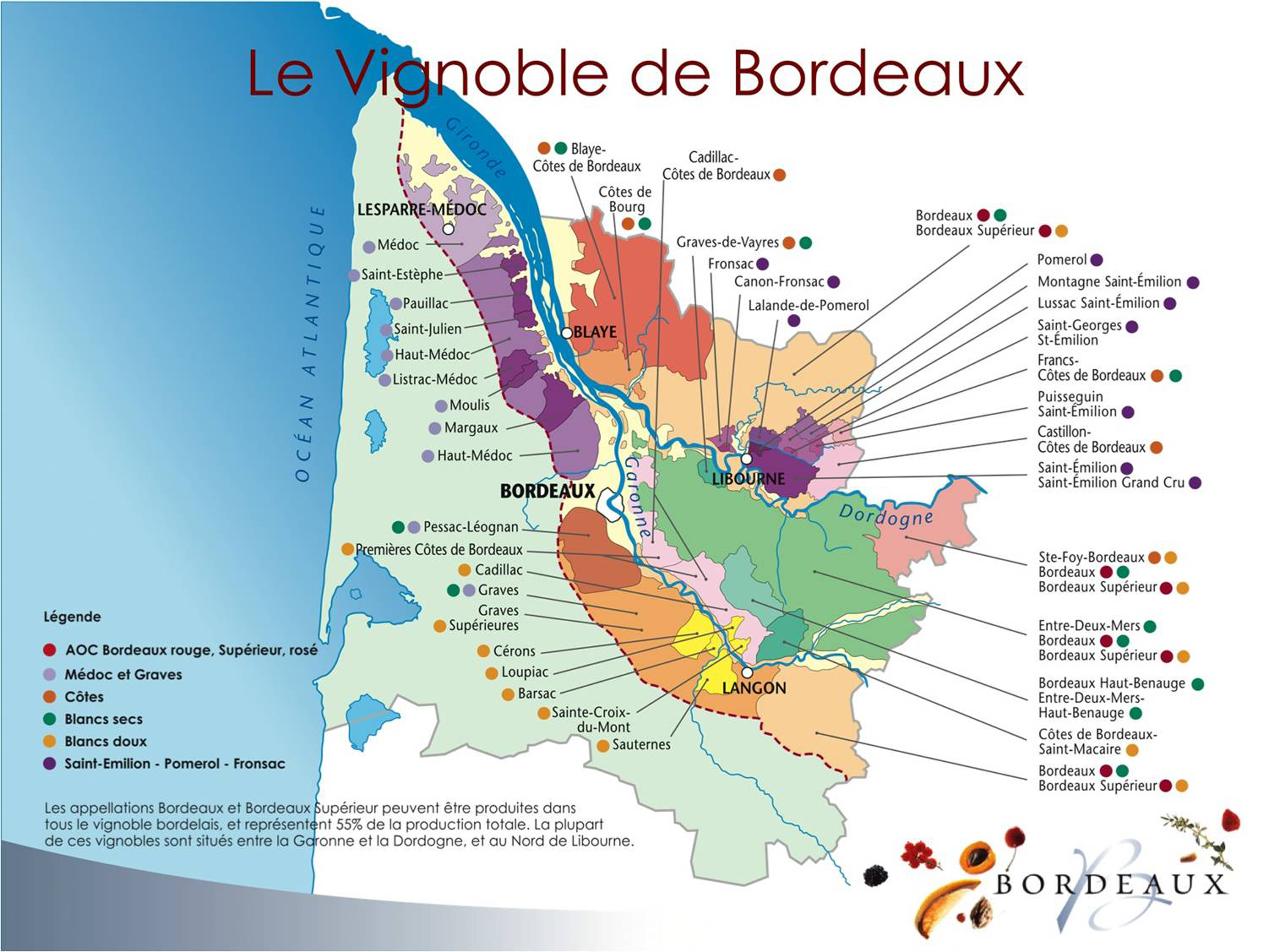 Carte Bordeaux Appellations.Map Of The Appellations Aoc Bordeaux Courreges Wines